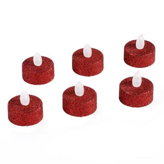 Set de 6 bougies chauffe plat led rouge pailleté