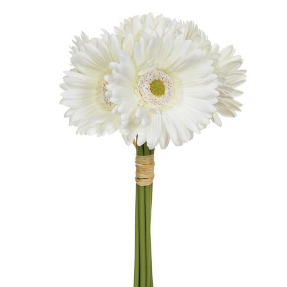 acquista online  Bouquet di 7 gerbere artificiali bianche, 26 cm