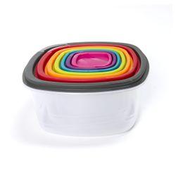 compra en línea  7 tuppers de plástico cuadrados apilables y multicolor