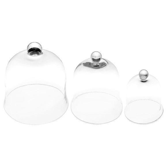 Lot de 3 cloches en verre transparent