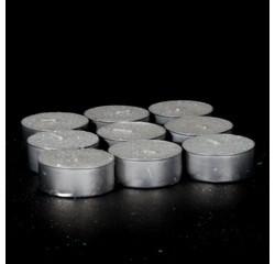 Achat en ligne Set de 9 bougies chauffe plat blanc pailleté