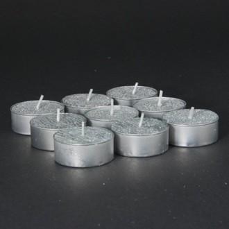 Set de 9 bougies chauffe plat argent pailleté