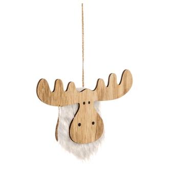 Décoration de noël tête de renne en bois avec fourrure
