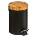 Poubelle 3L métal noir couvercle bambou noir