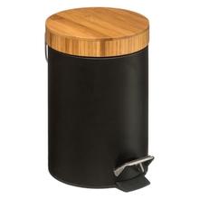 Achat en ligne Poubelle 3L métal noir couvercle bambou noir