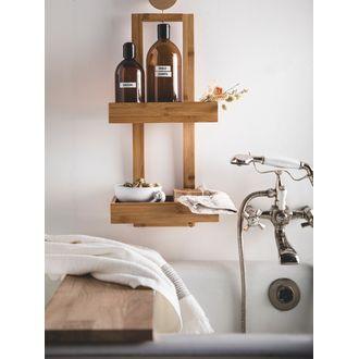 Serviteur de douche deux plateaux bambou