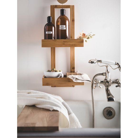 Servitore doccia in bamboo con 2 ripiani