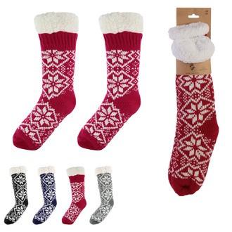 Chaussettes antidérapantes hiver motif