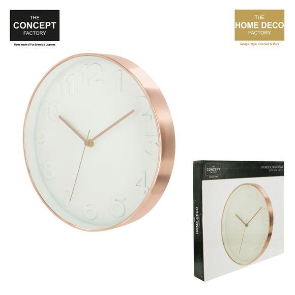 Horloge murale ronde blanche et cuivrée Ø30cm