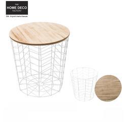 Achat en ligne Table filaire bois et métal motif chevron blanc d38.5xh40cm