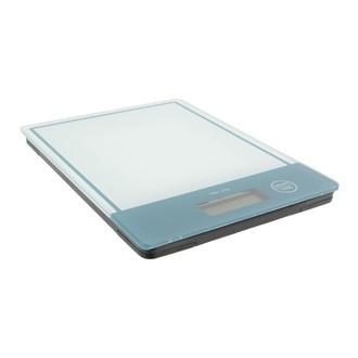 Balance digitale rectangulaire en verre bleu