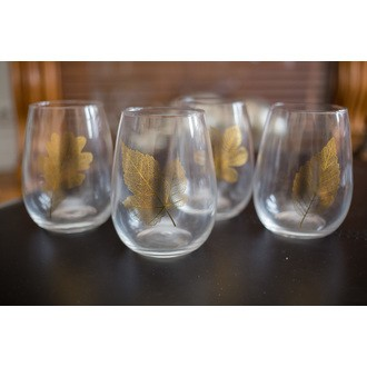Set de 4 verres feuilles dorées