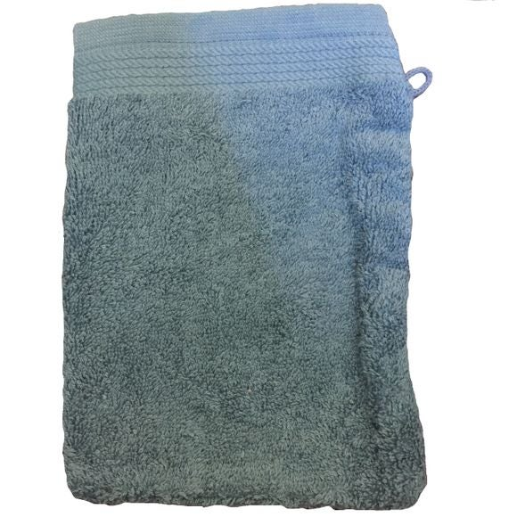 Gant de toilette en coton éponge bio bleu tempête