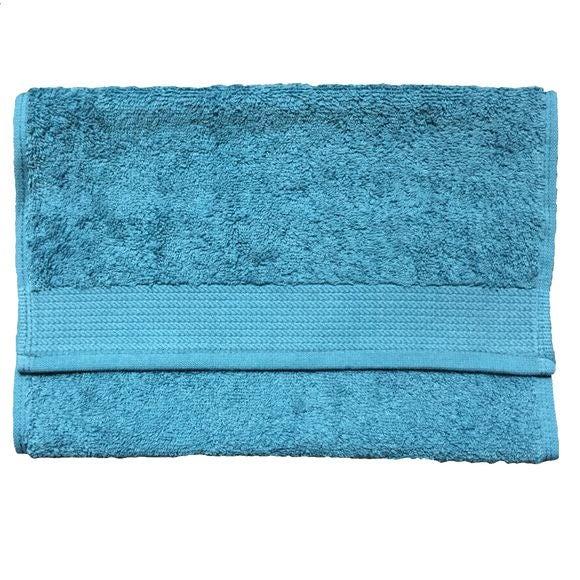 Serviette invité 30x50cm en coton éponge bio bleu tempête