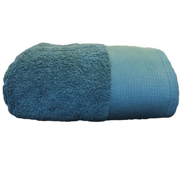 Serviette de douche 70x140cm en coton éponge bio bleu tempête