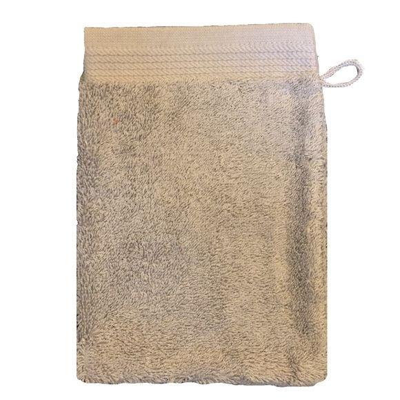 Gant de toilette en coton éponge bio cendre