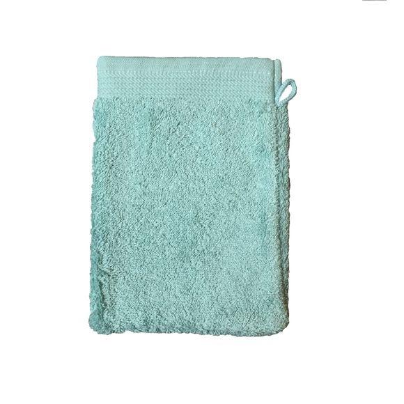Guanto da bagno in cotone bio azzurro