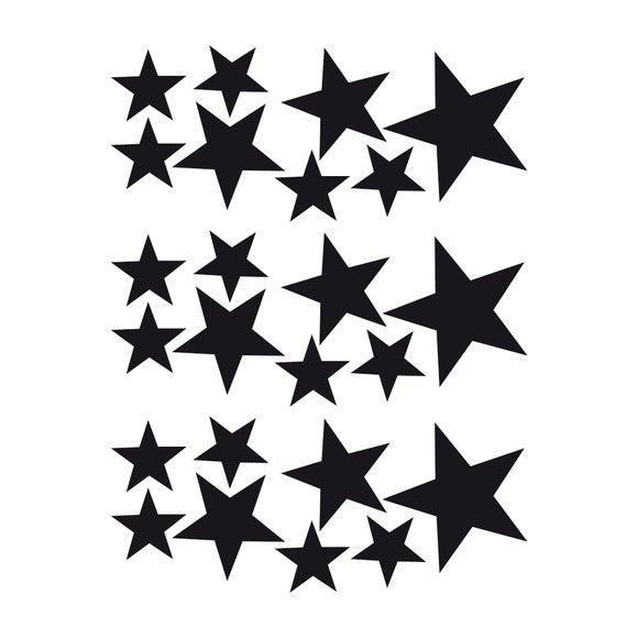 Achat en ligne Set de 24 stickers autocollants muraux étoiles noirs 25x35cm
