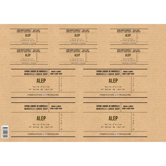 Planche d'étiquettes pour savon liquide Alep