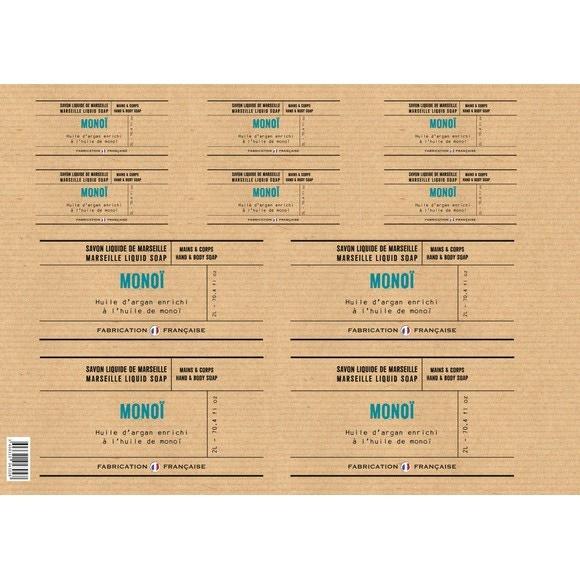 Planche d'étiquettes pour savon liquide Monoi