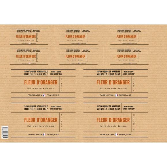 Planche d'étiquettes pour savon liquide fleur d'oranger