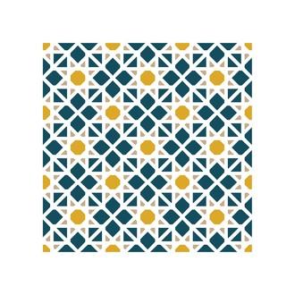 Lot 4 stickers carreaux ciment Mosaique bleu beige 10x10cm