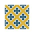 Lot 4 stickers carreaux ciment Croix bleu beige 10x10cm