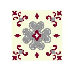 Achat en ligne Lot 4 stickers carreaux ciment Fleur bordeaux gris 10x10cm