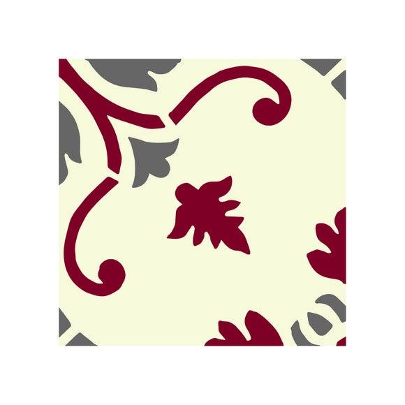 Lot 4 stickers carreaux ciment Fleur 2 bordeaux gris 10x10cm