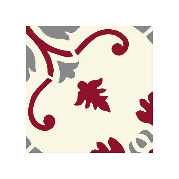 Achat en ligne Lot 4 stickers carreaux ciment Fleur 2 bordeaux gris 10x10cm