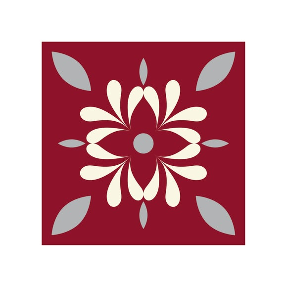 Achat en ligne Lot 4 stickers carreaux ciment Fleur bordeau 10x10cm