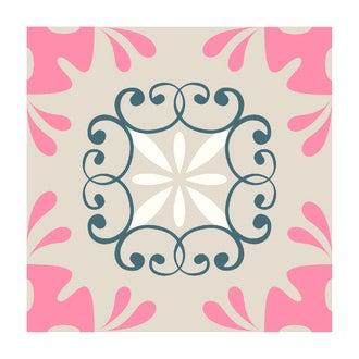 Lot 4 stickers carreaux ciment Arabesques rose 15x15cm