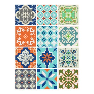 Lot 12 stickers carreaux ciment turquoise 15x15cm