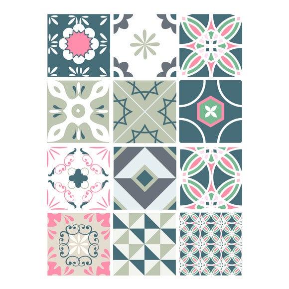 Achat en ligne Lot 12 stickers carreaux ciment poudré 15x15cm