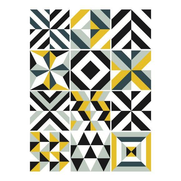 12 Stickers Carreaux Ciment Grafik Moutarde 48x70cm