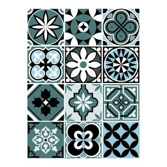12 stickers carreaux ciment vintage bleu 48x70cm