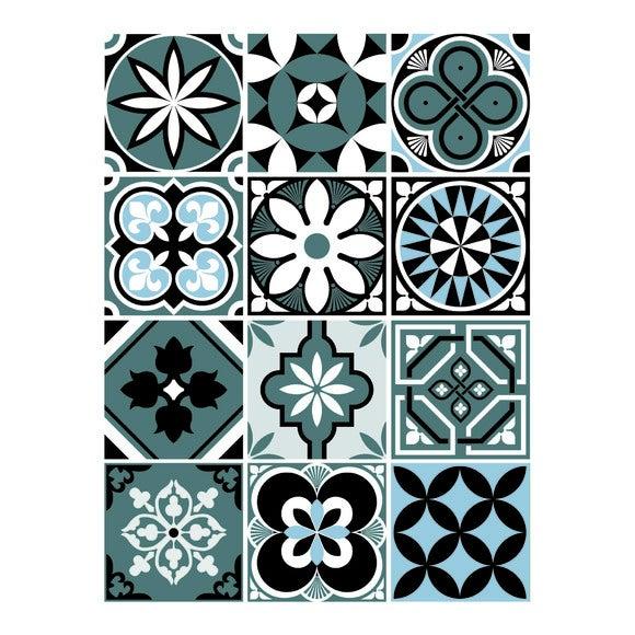 Achat en ligne 12 stickers carreaux ciment vintage bleu 48x70cm