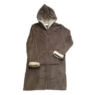 Peignoir zippé en polaire gris glaise, doublé sherpa, taille S