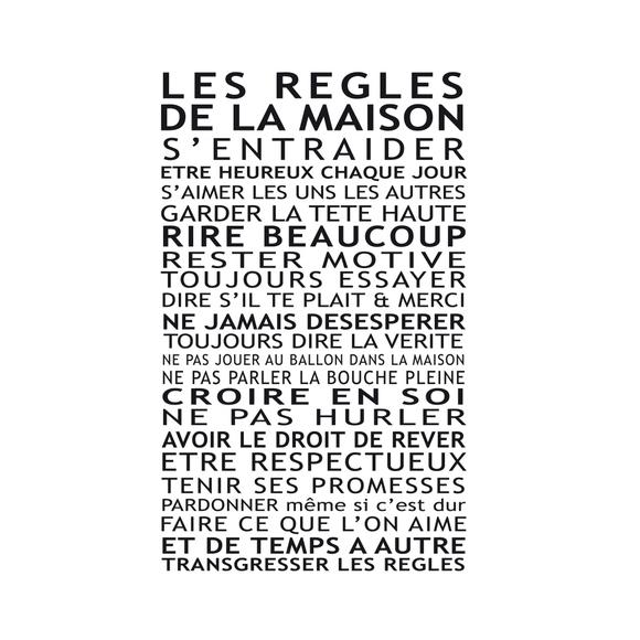 Achat en ligne Affiche règles de la maison blanc 40x50cm