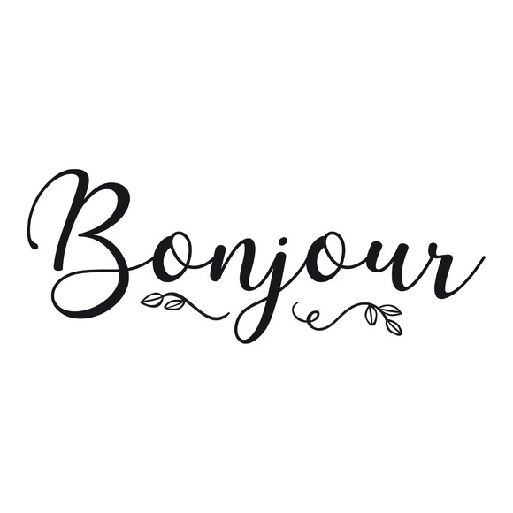 Sticker bonjour noir 26x10cm