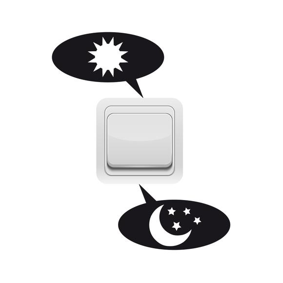Achat en ligne Sticker interrupteur jour/nuit noir 10x10cm