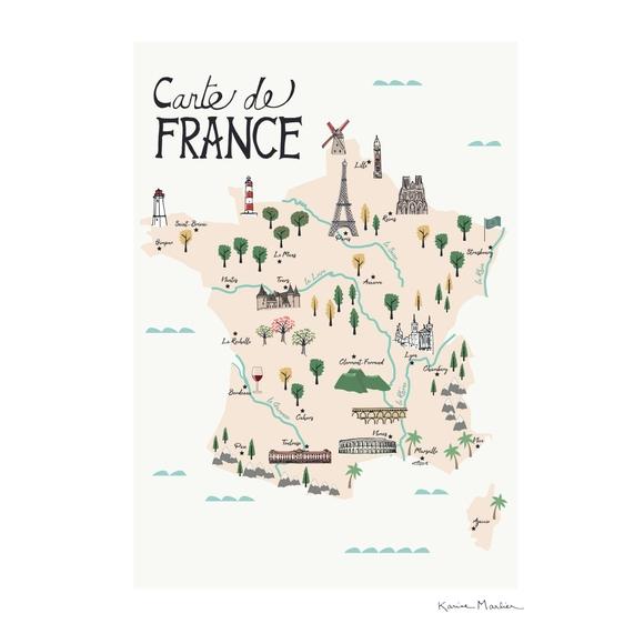 Achat en ligne Affiche carte france illustration k.marlier 30x40cm