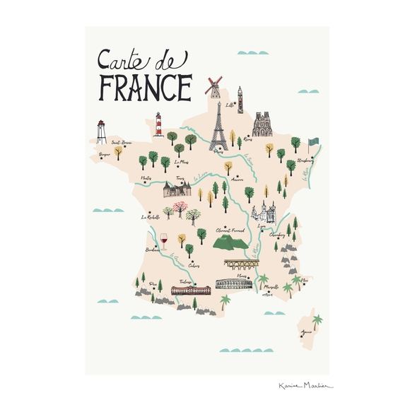 Achat en ligne Affiche carte france illustration k.marlier 40x50cm