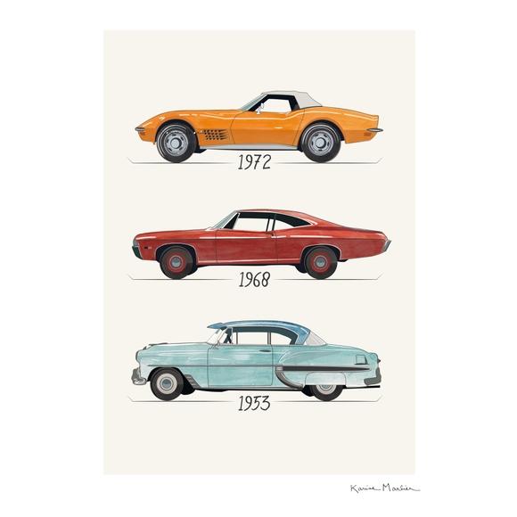 Achat en ligne Affiche les voitures k.marlier 70x100cm