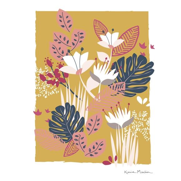 Achat en ligne Affiche fleurs tropicales k.marlier 30x40cm