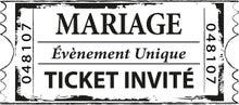 Achat en ligne Tampon ticket mariage