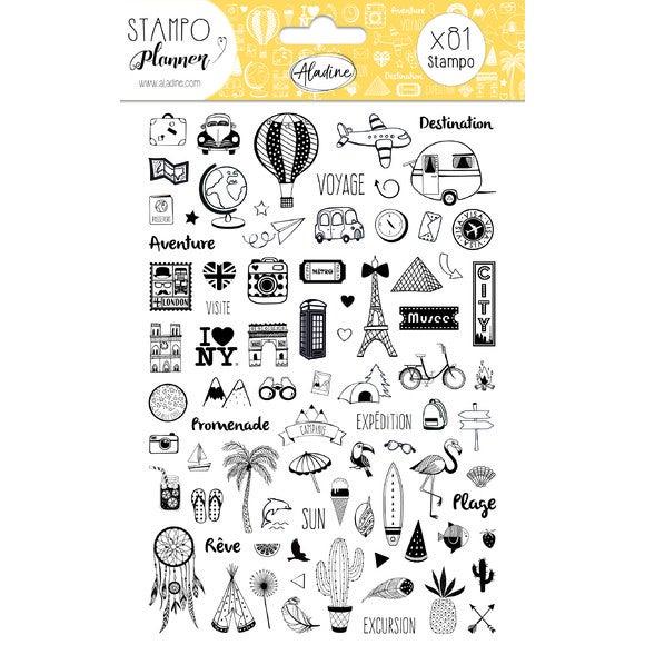 Stampo Planner carnet de voyage + 78 tampons mousse