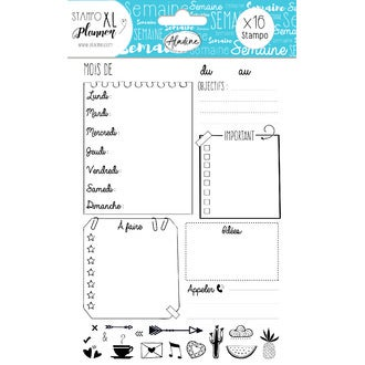 ALADINE- STAMPO Planner - page semaine + 16 tampons mousse