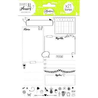 ALADINE- STAMPO Planner - page mois + 21 tampons mousse