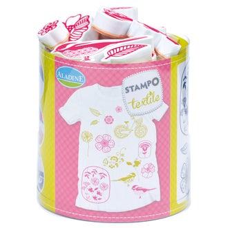 ALADINE - Set de tampons pour textile fleurs